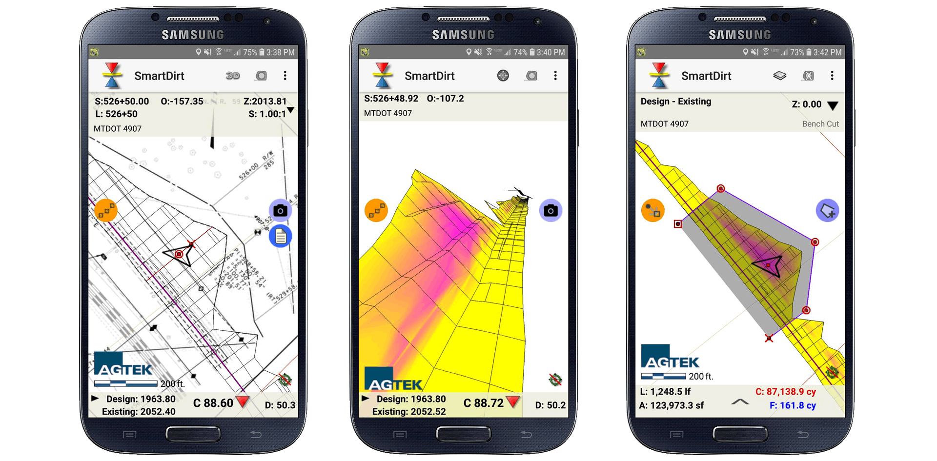 SmartDirt Mobile App 3D views, maps and volume measurement